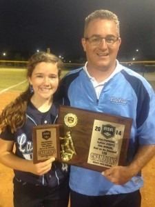 Coach Bill Baylog and Daughter, Gabby Lady Blues Champs at ASA Duel on the Diamond May 2014, Greenville, SC