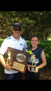 Coach Bill Baylog with Lady Blues Champion NC NSA State Champions