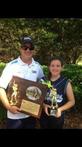 Coach Bill Baylog with Lady Blues Champion NC NSA State Champions