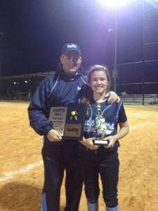 Coach Bill Baylog with Lady Blues Team Player and Daughter March 2014